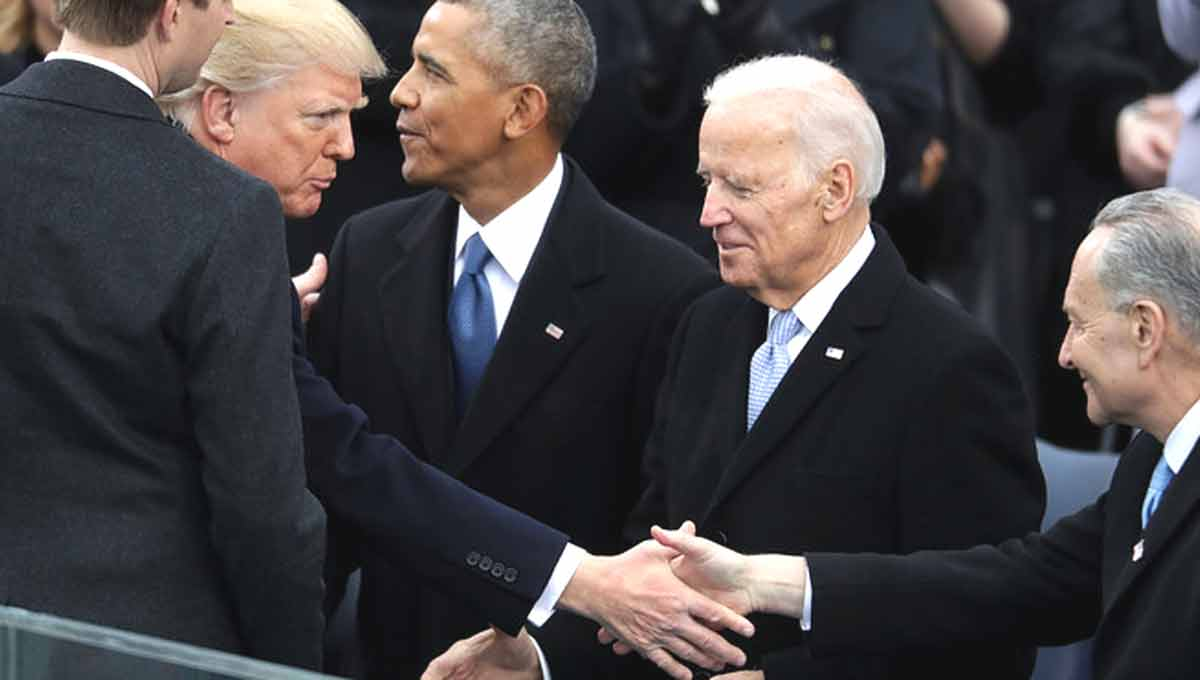 President Trump with former President Obama and former Vice President Biden...