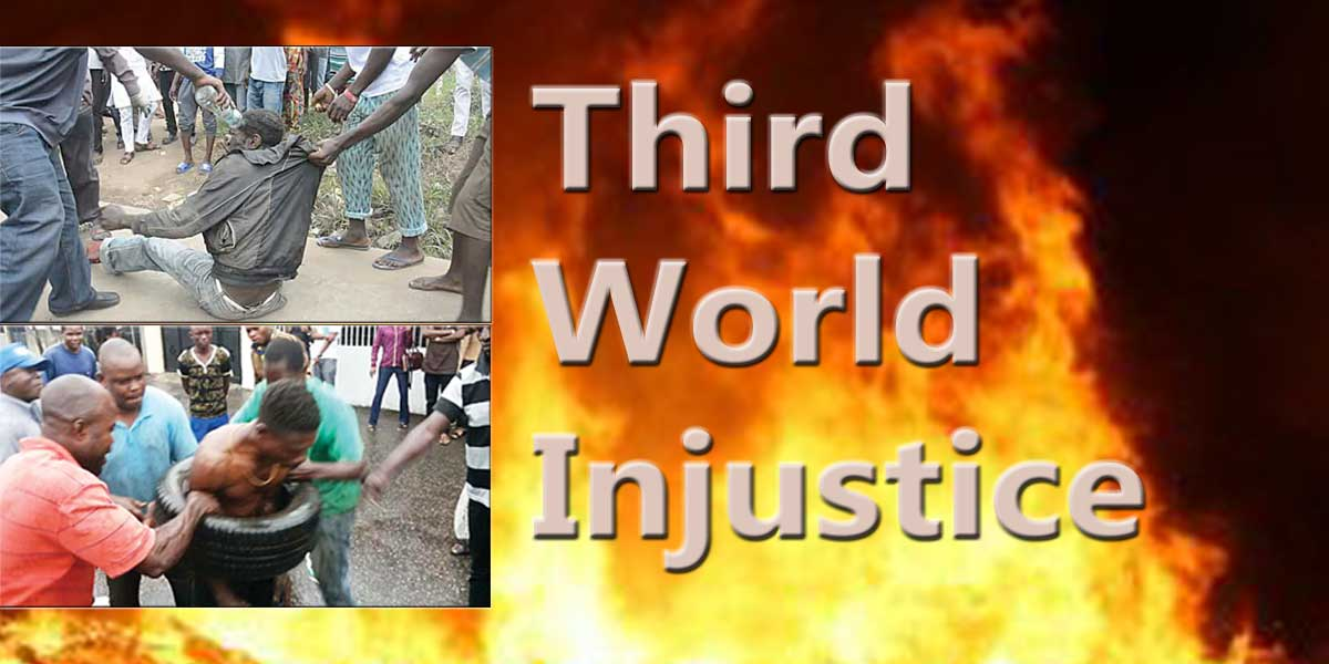 Third World Injustice, gasoline, used tyre and matchstick...